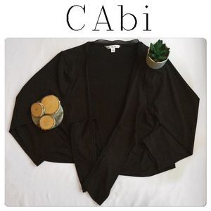 CAbi Brown Long Sleeve Cropped Wrap Top Size Large